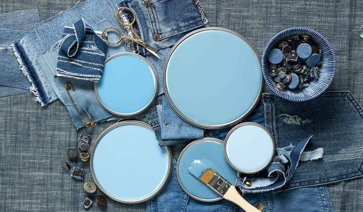 Paint lids in various shades of denim blue photo