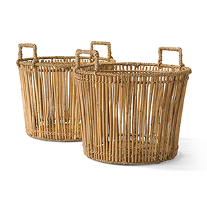 Two brown rattan baskets from Walmart photo
