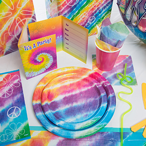 Tie dye plates, napkins, forks, cups, and more from Walmart photo