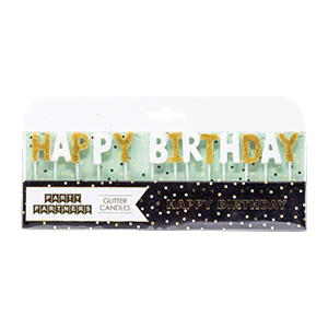White and gold birthday candle set from Walmart photo