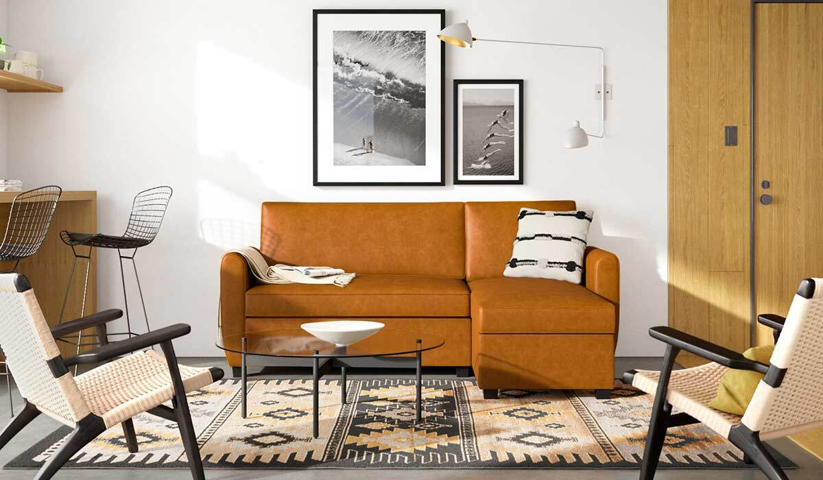 A living room decorated with furniture from AllModern photo