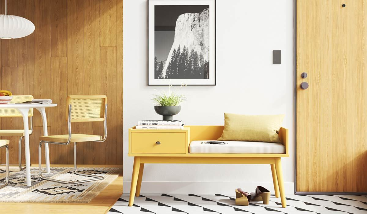 A home office is decorated with furniture from AllModern photo