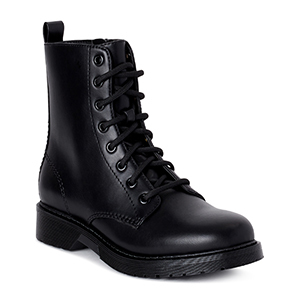 Black faux leather lace-up boots from Walmart photo