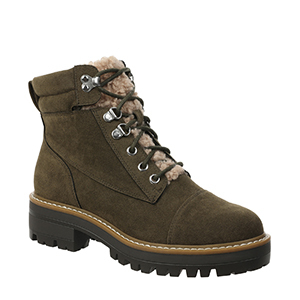 Army green hiker boots with faux fur detail from Walmart photo