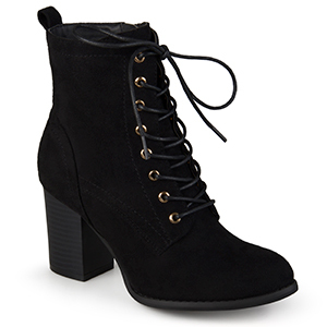 Black lace-up heeled booties from Walmart photo
