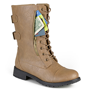 Light brown lace-up boots with a pocket in the side from Walmart photo