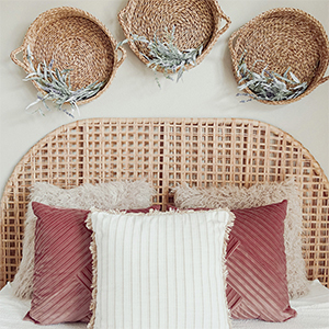 Bed with decorative pillows from Walmart. photo