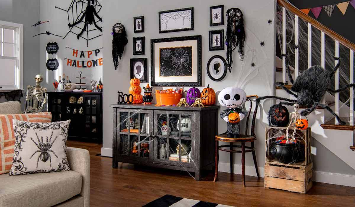 House decorated for Halloween with Walmart decor