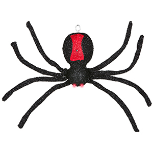 Black and red glitter hanging spider decoration from Walmart photo