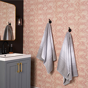 Powder room wallpaper from Walmart. photo