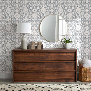 Gray vintage wallpaper from Walmart. photo