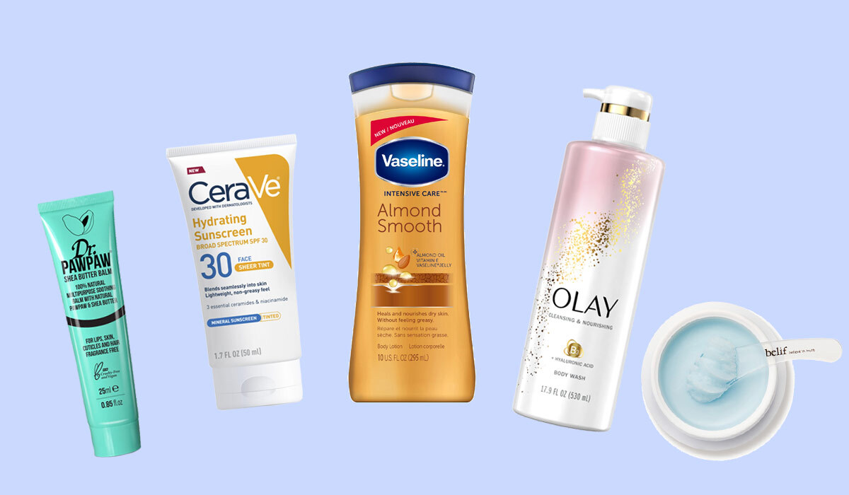 Various skin care products to help with dry skin photo