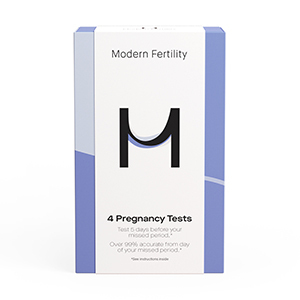 White and purple box of Modern Fertility pregnancy tests from Walmart photo