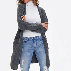 A woman wears a gray cardigan from Forever 21 photo