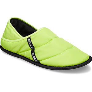Neon green lined slippers from Crocs photo