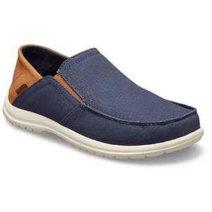Mens blue canvas slip-on shoes from Crocs photo