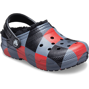 Red, black, and gray patterned Crocs photo