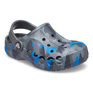 Blue and gray camo-patterned Crocs photo
