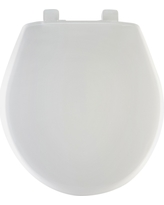 Round Plastic Toilet Seat with Whisper•Close with Easy•Clean & Change Hinge, Sta-Tite - White - Mayfair