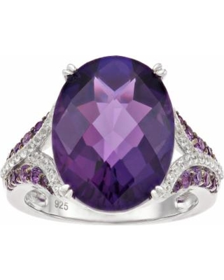 Sterling Silver Amethyst & Lab-Created White Sapphire Ring, Women's, Size: 8, Purple