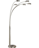 Artiva USA Micah - Modern & Stylish - 5 Arc Brushed Steel Floor Lamp w/ Dimmer Switch, 360 Degree Rotatable Shades - Dim Options - Bright & Attractive - Easy Assembly - Solid Construction - Stainless Steel - Industrial & Mid-Century