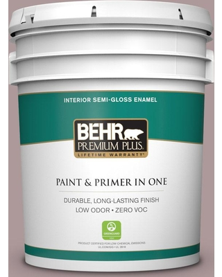 BEHR PREMIUM PLUS 5 gal. #110F-4 Heirloom Orchid Semi-Gloss Enamel Low Odor Interior Paint and Primer in One