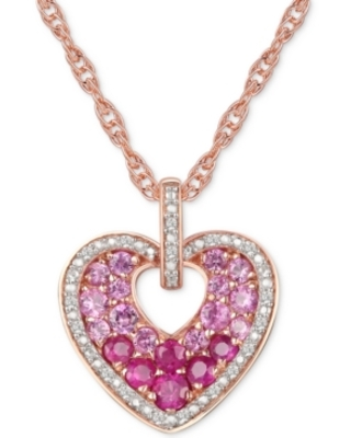 """Ruby (5/8 ct. t.w.) & Diamond (1/10 ct. t.w.) 18"""" Heart Pendant Necklace in 14k Rose Gold Over Sterling Silver"""