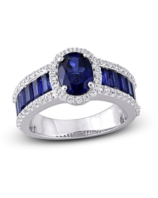 Jared The Galleria Of Jewelry Lab-Created Blue Sapphire & Lab-Created White Sapphire Ring Sterling Silver