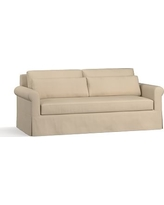 "York Roll Arm Slipcovered Deep Seat Sofa 84"" with Bench Cushion, Down Blend Wrapped Cushions, Twill Parchment"