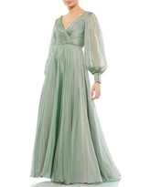Mac Duggal Illusion Long Sleeve A-Line Gown, Size 6 in Sage at Nordstrom