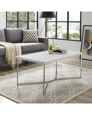 Walker Edison Furniture Company 42 in. Y-Leg Coffee Table in White Faux Marble/Chrome (Grey)