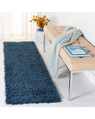 Safavieh August Shag Collection AUG200M-27 Solid 1.5-inch Thick Runner 2' x 7' Navy