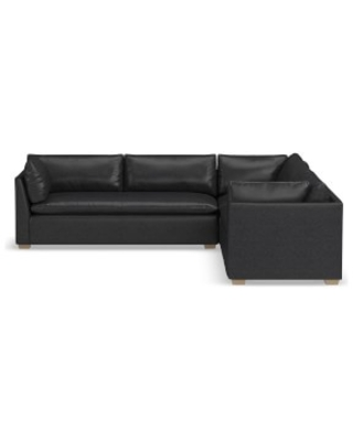 "Laguna Sectional, 22"" Depth, 3-Piece L-Shape Loveseat, Down Cushion, Italian Distressed Leather, Wolf, Natural Leg,"