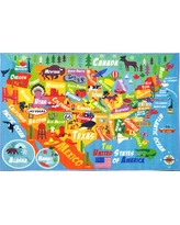 Multi-Color Kids and Children Bedroom Playroom USA United States Map Educational Learning 3 ft. x 5 ft. Area Rug, Multi-Colored