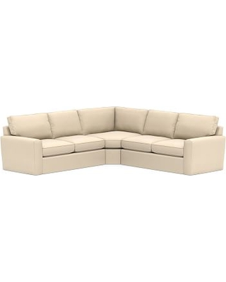 Pearce Square Arm Slipcovered 3-Piece L-Shaped Wedge Sectional, Down Blend Wrapped Cushions, Performance Everydayvelvet(TM) Buckwheat