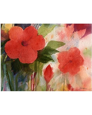 """Trademark Art """"Red Blossoms"""" Canvas Wall Art by Shelia Golden"""