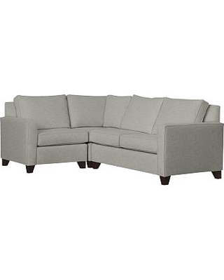 Cameron Square Arm Upholstered Right Arm 3-Piece Corner Sectional, Polyester Wrapped Cushions, Premium Performance Basketweave Light Gray