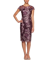 Alex Evenings Embroidered Sheath Dress, Size 14 in Plum at Nordstrom