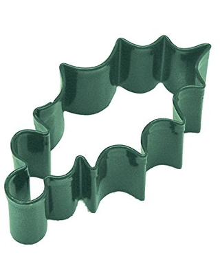 """R&M Holly Leaf 3.25"""" Cookie Cutter Green With Colored, Durable, Baked-on Polyresin Finish"""