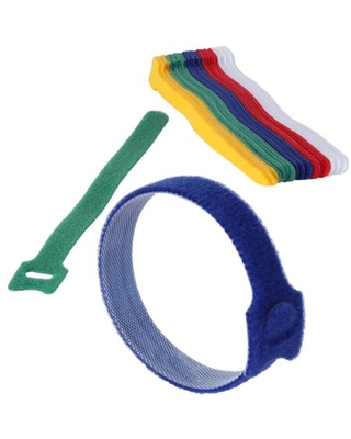 "Cable Management Ties - (30) 8"" Reusable Self-Gripping Cord Strapsby Edison Supply (Multi-Color)"