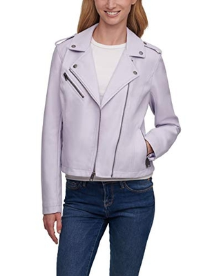 Levi's Women's Faux Leather Classic Motorcycle Jacket (Regular and Plus Sizes),Purple,2X