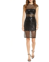 SHO by Tadashi Shoji Sequined Illusion Mesh Cocktail Dress, Size 0 in Black/Nude at Nordstrom