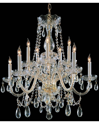Crystorama Traditional Crystal 10-Light 26 inch Traditional Chandelier in Polished Brass with Clear Hand Cut Crystals