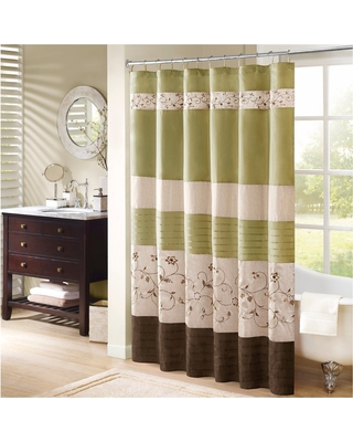 Monroe Embroidered Shower Curtain - Green