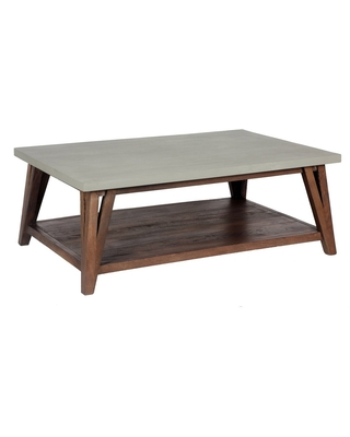 """48"""" Brookside Coffee Table Concrete Coated Top and Wood Light Gray/Brown - Alaterre Furniture"""