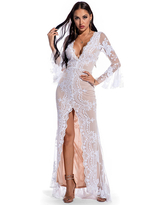 Milanoo Evening Dress White Long Sleeve Polyester Sequins Split Gowns Party Dress Lace Bodycon Pageant Dress
