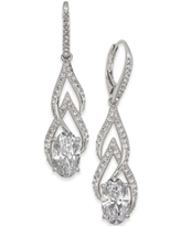 Eliot Danori Silver-Tone Crystal & Pave Drop Earrings, Created for Macy's