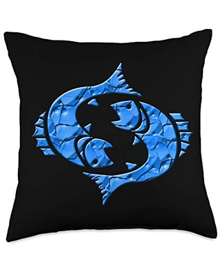 Zodiac Sign Pisces Astrology Gifts Zodiac Sign Pisces Throw Pillow, 18x18, Multicolor