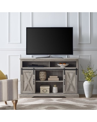 """Manor Park Farmhouse Barn Door TV Stand for TVs up to 58"""", Gray Wash"""