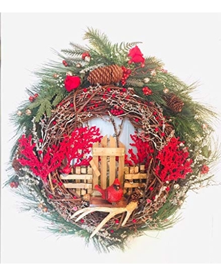 """24"""" Red Cardinal Winter Red Berries Wooden Fence Gate Holiday Wreath"""